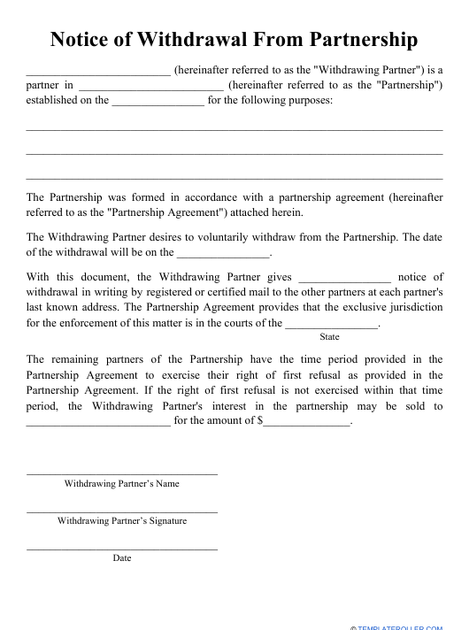 """""""Notice of Withdrawal From Partnership Template"""" Download Pdf"""