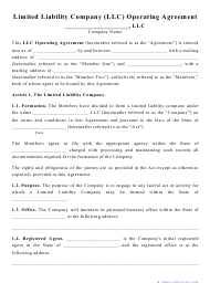 """""""Limited Liability Company (LLC) Operating Agreement Template"""""""