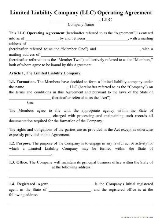 """Limited Liability Company (LLC) Operating Agreement Template"" Download Pdf"