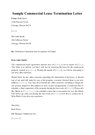 """Sample """"Commercial Lease Termination Letter"""""""