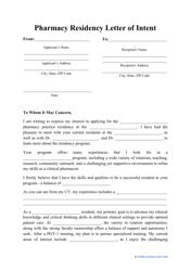 """Pharmacy Residency Letter of Intent Template"""