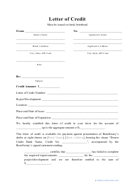 """""""Letter of Credit Template"""""""
