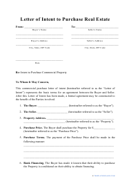 """""""Letter of Intent to Purchase Real Estate Template"""""""