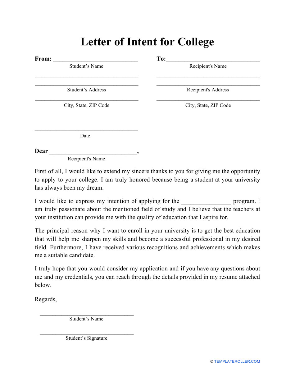Letter Of Intent For College Template