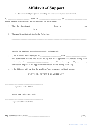 """Affidavit of Support Form"""