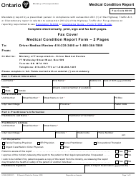 "Form 5108E ""Medical Condition Report"" - Ontario, Canada"