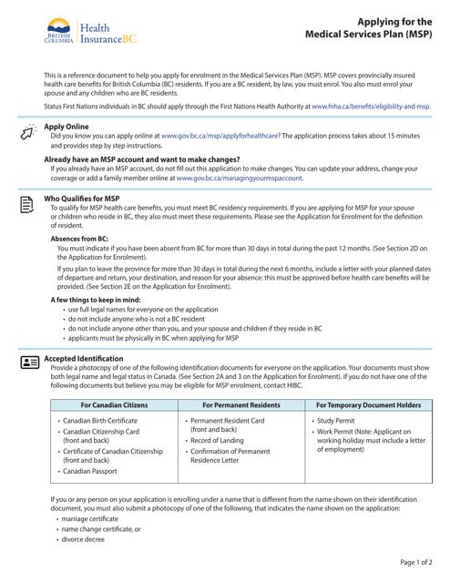 """Medical Services Plan (Msp) Application for Enrolment"" - British Columbia, Canada Download Pdf"