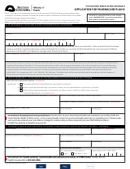 """Form HTLH3497 """"Application for Pharmacare Plan G"""" - British Columbia, Canada"""