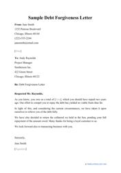"""Sample """"Debt Forgiveness Letter"""""""