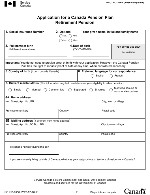 Form ISP-1000  Printable Pdf