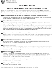 """Form N4 """"Notice to End Your Tenancy for Non-payment of Rent"""" - Ontario, Canada"""