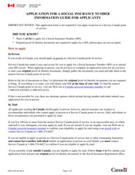 "Form NAS-2120 ""Social Insurance Number Application"" - Canada"