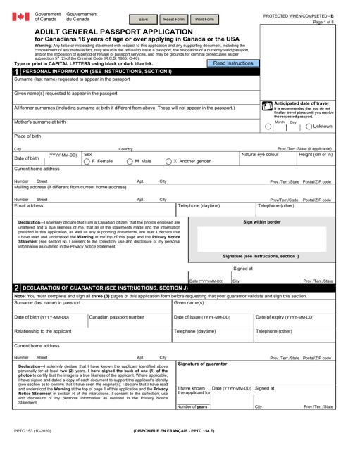 Form PPTC153  Printable Pdf