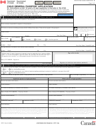 "Form PPTC155 ""Child General Passport Application"" - Canada"