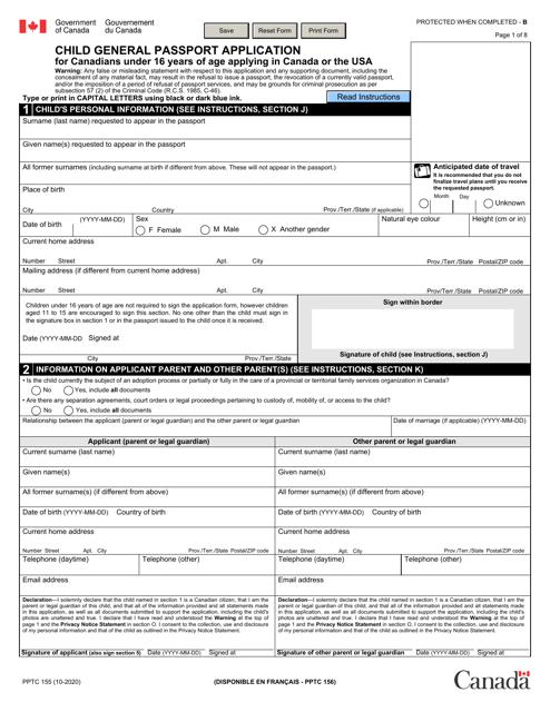 Form PPTC155  Printable Pdf
