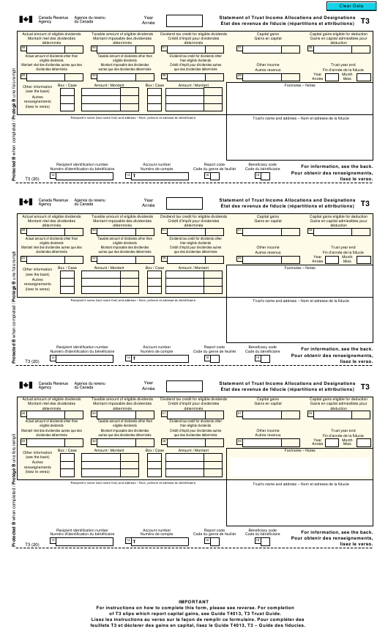 Form T3 Printable Pdf
