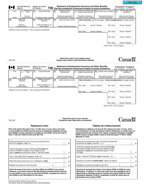 Form T4E  Printable Pdf