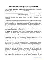 """""""Investment Management Agreement Template"""""""