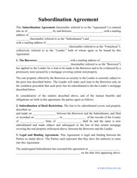 """Subordination Agreement Template"""