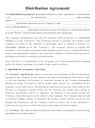"""""""Distribution Agreement Template"""""""