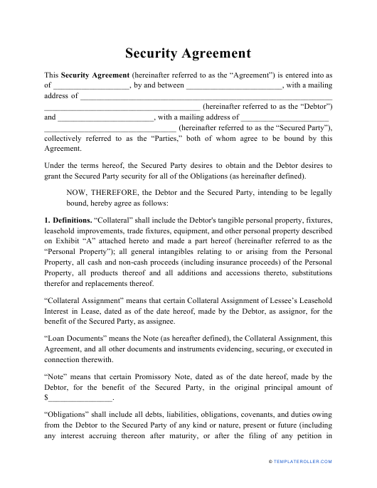 """Security Agreement Template"" Download Pdf"