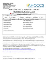 """Behavioral Health Residential Facility Admission Notification Form"" - Arizona"