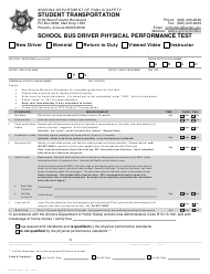 "Form DPS802-03203 ""School Bus Driver Physical Performance Test"" - Arizona"