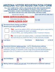 """Arizona Voter Registration Form (Large Print)"" - Arizona"