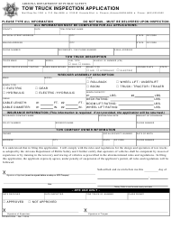 "Form DPS802-07004 ""Tow Truck Inspection Application"" - Arizona"