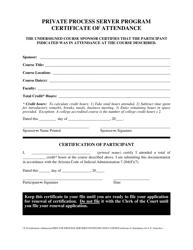 """Private Process Server Program Certificate of Attendance"" - Arizona"