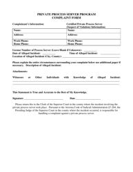 """Private Process Server Program Complaint Form"" - Arizona"