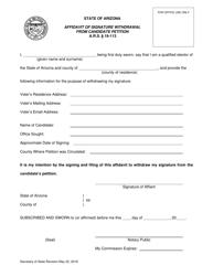 """Affidavit of Signature Withdrawal From Candidate Petition"" - Arizona"