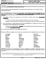 """Form DWS-ARK-237 """"Notice to Employees - How to Claim Unemployment Insurance"""" - Arkansas"""