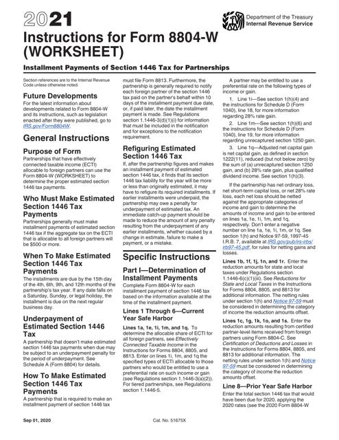 IRS Form 8804-W 2021 Printable Pdf