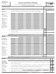 """IRS Form 1040 Schedule B """"Interest and Ordinary Dividends"""", 2020"""