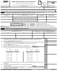 """IRS Form 2441 """"Child and Dependent Care Expenses"""", 2020"""