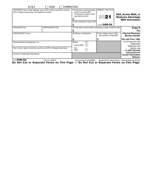 IRS Form 5498-SA 2021 Printable Pdf