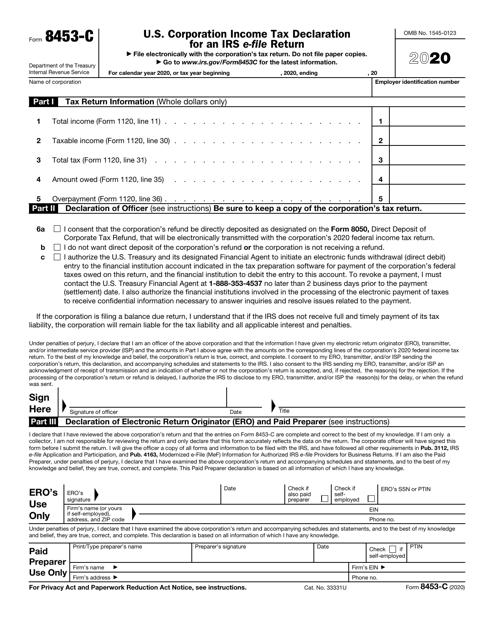 IRS Form 8453-C 2020 Printable Pdf
