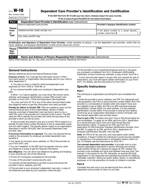 IRS Form W-10  Printable Pdf