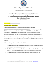 """""""Local Educational Agency and Arizona Department of Education Agreement for the Community Eligibility Provision of the National School Lunch Program and School Breakfast Program Participation Form"""" - Arizona"""