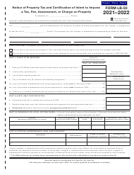 "Form LB-50 (150-504-073-7) ""Notice of Property Tax and Certification of Intent to Impose a Tax, Fee, Assessment, or Charge on Property"" - Oregon, 2022"