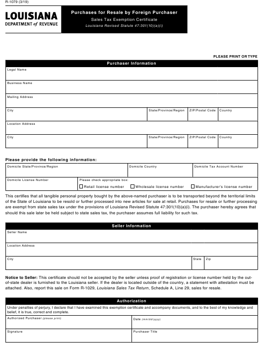 pdf 1079 resale louisiana form fill templateroller purchases purchaser foreign
