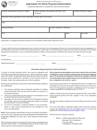 "Form DP-1 (State Form 22917) ""Application for Direct Payment Authorization"" - Indiana"