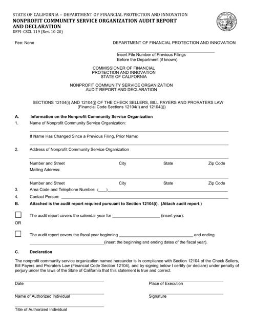 Form DFPI-CSCL119  Printable Pdf