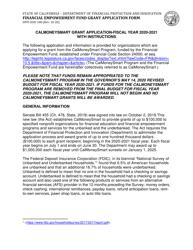 "Form DFPI-EEO100 ""Financial Empowerment Fund Grant Application Form"" - California, 2021"