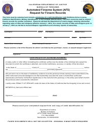"Form BOF053 ""Automated Firearms System (Afs) Request for Firearm Records"" - California"