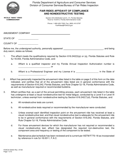 Form FDACS-03433 Printable Pdf