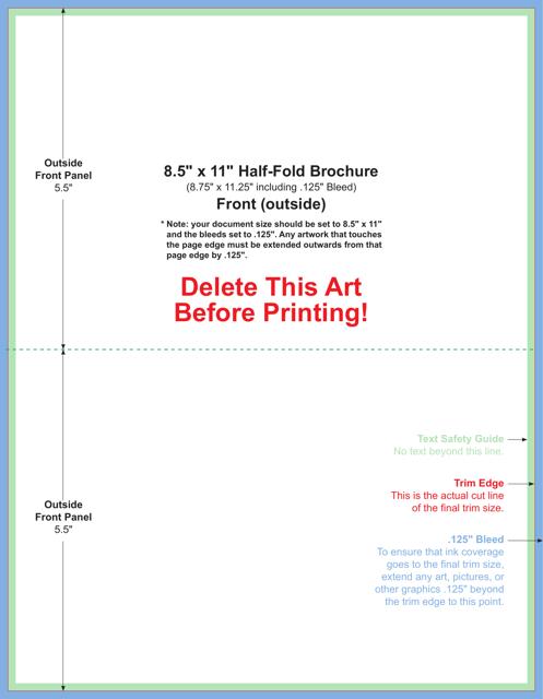8 5 X 11 Inch Half Fold Brochure Template Download Printable Pdf Templateroller