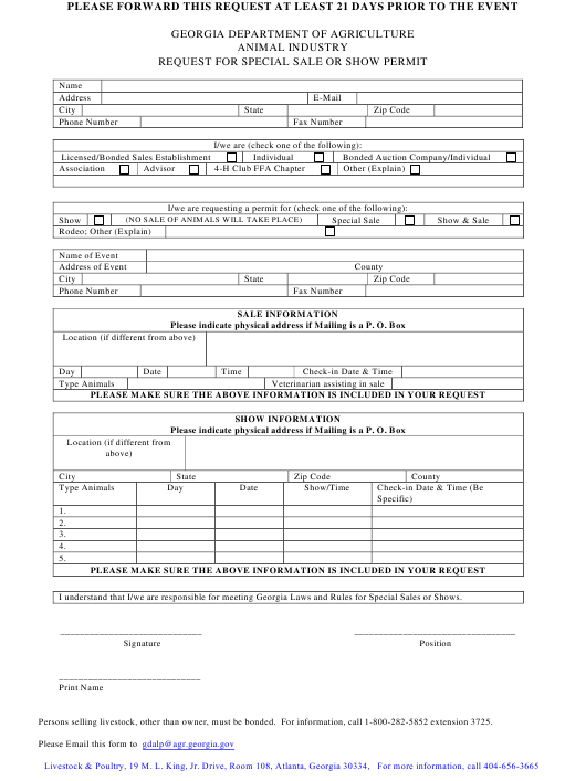 """""""Request for Special Sale or Show Permit"""" - Georgia (United States) Download Pdf"""