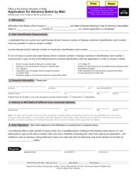 """Form AV1M """"Application for Advance Ballot by Mail"""" - Kansas"""